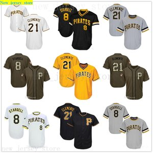 Men Women Youth Pirates Jerseys 8 Stargell 21 Clemente Baseball Jersey Black White Gray Grey Gold Green Salute to Service Players Weekend