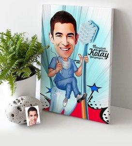 Personnalisé M. Dentist Cartoon Toile Tableau 30x50 cm Autres Festive Party Supplies Party Supplies 2 Festive