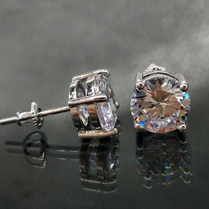 남성과 여성 다이아몬드 귀걸이 스터드 락 랩퍼 보석 선물을위한 18K 골드 힙합 아이스 아웃 CZ 지르코니아 라운드 스터드 귀걸이 0.4 0.6 0.8cm
