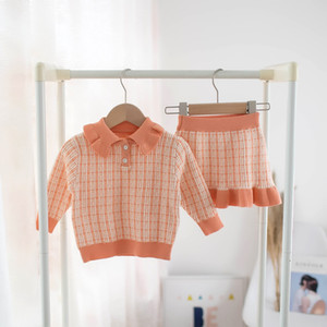 2020 Girls Knit Skirt Outfits Autumn Winter Children Clothing Suit Kids Plaid Lapel Long Sleeve Cardigan + Skirt Sweater 2pcs Suits C6463