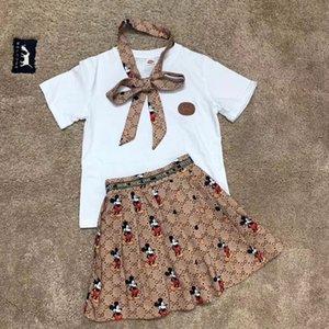 الشحن مجانا طفل بنات مجموعة ملابس الابيض القطن قمصان توتو تنورة الدعاوى 2PCS اطفال للفتاة الاطفال الرضع الصيف ملابس الأطفال
