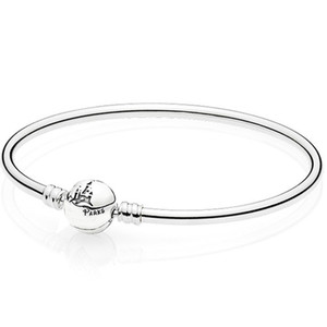 925 Sterling Silver Bangle Wonderful World Park Castlel Clasp Smooth Bracelet Bangle Fit Bead Charm DIY Europe Jewelry