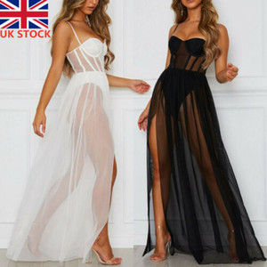 Vestido para mujer Summer Volie Sundress Sexy See Through Black Perspective Mesh Gauze Sin mangas Backless Party Vestido largo largo Niñas