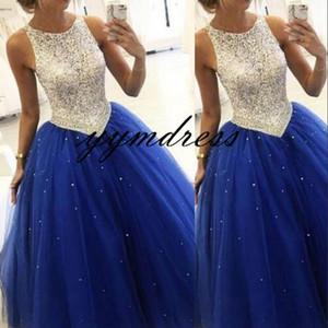 Bling Prom Dresse 2019 Jewel Neck 지퍼 백 플로어 이브닝 가운 정식 파티 드레스 옷 입히기 플러스 사이즈