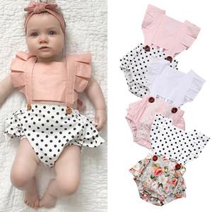 Bebek Kız Bodysuits Bebek Kız bebekler Ruffles Kol Çiçek Dot Backless Bodysuit Romper Yenidoğan Bebek Giyim Kıyafetler M2472 yazdır