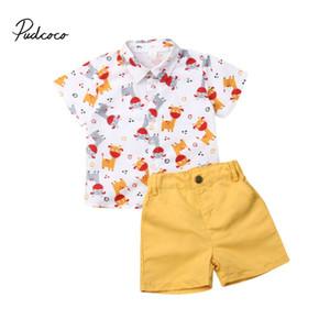 Pudcoco roupa do Natal ajustados para Bebé da criança que crianças Christmas Deer Elf Tops estampadas shirt calças + Shorts Outfits formais