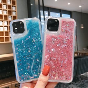 Love Heart Glitter Phone Case For iphone 11 Pro X XR XS MAX Liquid Quicksand Cover For iphone 7 8 Plus Bling Sequins