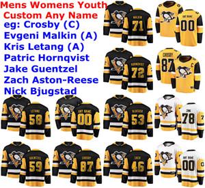 Pittsburgh Penguins Jerseys Womens Sam Lafferty Jersey Brandon Tanev Dominik Simon Bryan Rust Jared McCann Hockey camisas personalizadas costurado