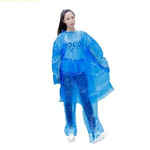 One Time monouso Giacca a vento per adulti Pe miscela di colore Cappuccio Split cappotti di pioggia portatile Poncho indumenti impermeabili per attività esterna 1 8fs E19