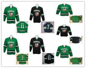 Neue Ankunfts-Jugend 7 TJ Oshie North Dakota Kampf Sioux Hawks Jersey Kinder 11 Zach Parise Hochschule UND Hockey Jersey nähte Schwarz-Grün