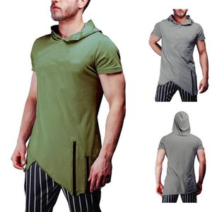 Panelled Hooded Solid Color Mens Tshirts Short Sleeve Crew Neck Mens Tops Casual Slim Mens Clothing