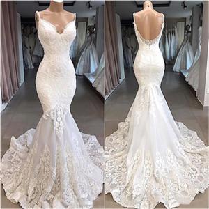 Vintage Spaghetti Strips Sirena Slim Lace Apliques Vestido de novia Vestidos de novia personalizados Custom Formal Vestidos De Matrimonio Largo Jardín