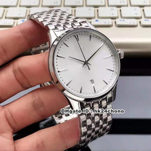 4 Estilo Mejor relojes Maestro Ultra Thin Fecha Q1288420 Autoamtic Reloj para hombre 1288420 Plata Dial correa de acero inoxidable de pulsera para caballero