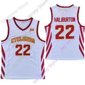 2020 New NCAA College Iowa State Cyclones Jerseys 22 Haliburton Basketball Jersey White Size Youth Adult