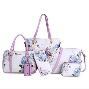 Fashion New Six Pieces National Printing PU Leather Handbag Women Bags Set Composite Bags Shoulde Bag