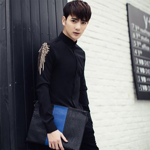 M-3XL 2017 New men's clothing Singer Fashion Hair Stylist Korean Embroidery Elastic force shirt slim costumes