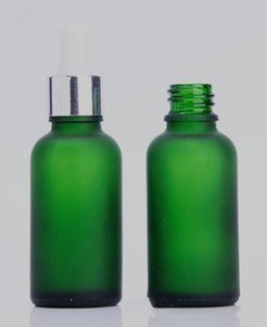 30ml 서리로 덥은 녹색 유리 dropper 병 화장품 에센셜 오일 향수 vape 액체 유리 병 골드 실버 블랙 피 펫 점 적기