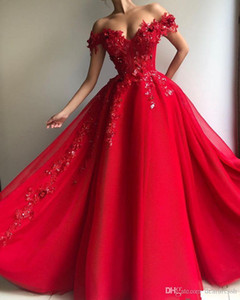 2020 Off The Shoulder Lace Red Prom Dresses Appliqued Beading A Line Cheap Evening Party Gowns Long Vestidos De Soire