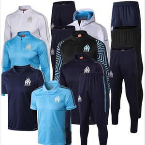 19 20 Marselha Thauvin PAYET Hat kit Jacket Mens Futebol Marseille L. GUSTAVO SANSON OM Black White safira fato de treino de futebol