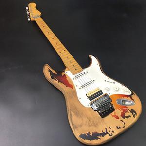 고품질 수제 문화 유물 거룩한 일렉트릭 기타, 실제 사진, 참 피나무 바디, 메이플 넥, 오래된 기타 부품, 무료 배송