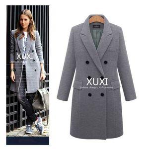 XUXI Donna Autunno Inverno Cappotto casuale Lana Solid Giacche Blazer Donna Elegante Doppio Petto Lungo signore sizecoat 5XL FZ244