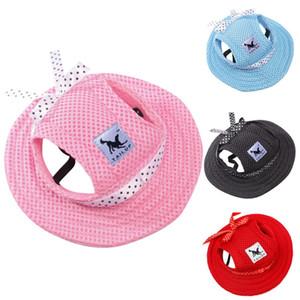 Gorra de béisbol del verano lienzo de tela de malla transpirable para mascotas Sombrero de sol playa del perro del gato del sombrero de la princesa de Hond Hoed Met Oo Gaten Zomer