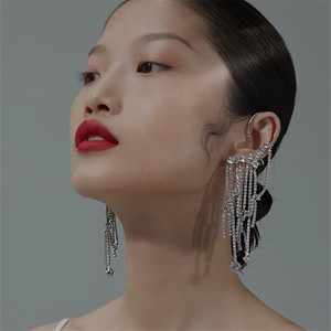 Orecchini clip Hiphop dell'orecchio del polsino Multi catena di cristallo nappa per le donne Iperbole polsino dell'orecchio Femme Brincos Sfilata di moda Gioielli