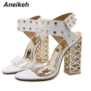 Aneikeh Shoes New Sandals Verão Mulheres 2018 Sexy PVC cristal Abrir Toe Salto Alto Sandálias Sapatos Tamanho 34-40 Preto Branco 923-9 #