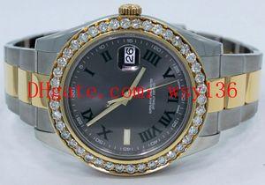 새로운 Datejust II 116333 18K 옐로우 골드 / SS 41mm 남성 자동 기계식 시계 로마 그레이 다이얼 다이아몬드 남성 손목 시계
