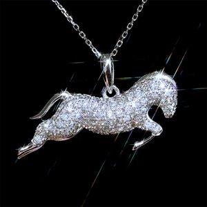 AprilGrass Brand Designer Horse Pendent Women Necklace Micro Paved CZ Stone Birthday Gift Zodiac Horse Animal Necklace Trendy Jewelry