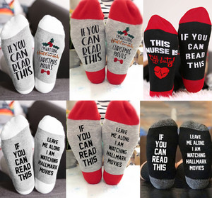 11 Arten Weihnachtssocken Brief gedruckt, wenn Sie können LESEN Ich beobachte Weihnachtsfilme Winter-Socken-X'mas Stocking Spiel Socken M836