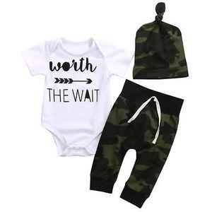 2019 младенец новорожденный мальчик девочки хлопок с коротким рукавом письмо комбинезон Комбинезон комбинезон с камуфляжной шляпе брюки 3 шт. комплект одежды новый
