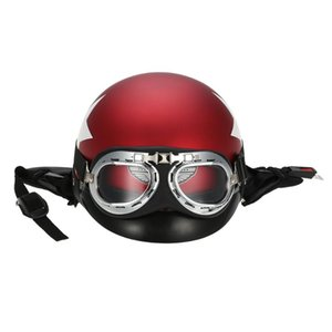 Половина Open Face Motorcycle Helmet с Goggles Visor шарф Байкер Scooter Touring