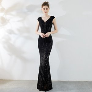 Elegant Black V Neck Evening Dreses 2019 Short Sleeves Beaded Sequins Mermaid Long Cheap Plus Size Party Prom Dresses