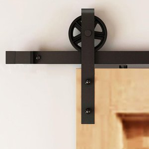 5 10FT única porta de madeira Vintage Spoked industrial europeia Aço Preto Sliding Barn Door Closet Hardware Rolo Hanger trilha Kit Set
