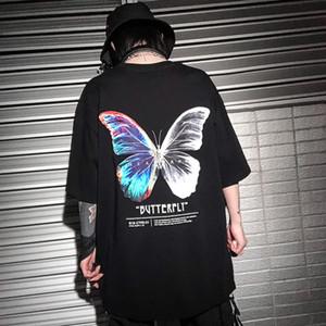 Hip Hop Oversize T Shirt Men 2020 Streetwear Harajuku Color Butterfly Tshirt Shutt Shole HipHop Loose Hiphop T-Shirt Plus Size