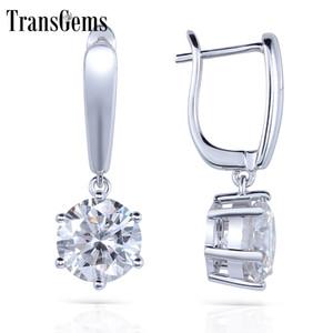 Transgems الصلبة 14 كيلو 585 الذهب الأبيض 1ctw 5 ملليمتر 0.5 قيراط كل قلوب اللون والسهام مويسانتي هوب أقراط للنساء مجوهرات Y19032201