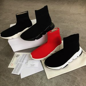 2019 Balenciaga Triple S Sneaker Designer Stretch Speed Trainer Black Lady Speed Tan Men Mid Top Sports Sock Casual Shoes with Logo