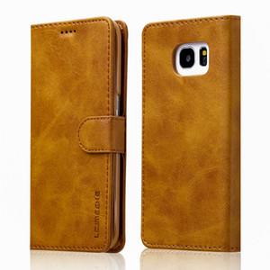 cuoio di vibrazione Case Case per Samsung Galaxy S6 S7 raccoglitore del supporto della carta per la galassia S7edge del telefono copertura posteriore della cassa del sacchetto di libro Coque Funda