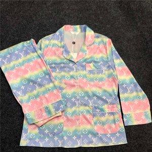 Luxus L Schreiben Frauen Pyjama Set Indoor Personality Printed Lady Nachtwäsche Bunte Trendy Female Ice Silk Night