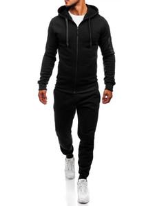 De diseño de la cremallera del chándal de los hombres deportivos Conjunto 2 piezas de ropa de los hombres sudadera de capucha de la chaqueta de los pantalones trajes de pista masculino