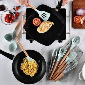 9 / 11pcs Кулинария Инструменты Набор Премиум Силикон для кухни Посуда для кухни Набор Turner Щипцы Шпатель Soup Spoon Кухонные аксессуары