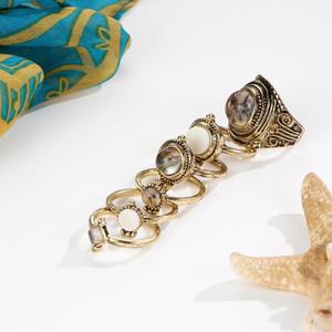 6pcs / set de Bohemia Anillos nudillo de moda Color Party los anillos cristalinos del oro retro para las mujeres de Boho Bague Femme Accesorios