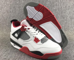 Newest Custom 4 White Red Black Mens Basketball Designer Shoes Cheap 2019 Latest IV Vintage Sports Sneakers Best Quality Come With Box