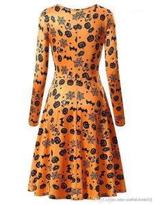 Art und Weise Cosplay Verein Kleidung Halloween-Kürbis-Frauen Kleider Langarm-O Ansatz Printed Womens Party-Kleid