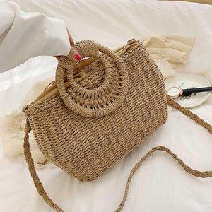 2020 Handmade Algodão Linho Bolsa de Praia Weaving Bamboo Bag Madeira Top-handle Bolsas Ladies rodada Lua Straw Shaped Bolsas Envolvido