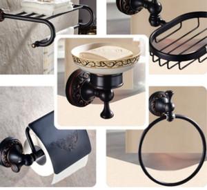 Parede preto moderno Mounted Bath Set Hardware latão ganchos de roupa Suporte do papel higiénico Toalha de Barras de Banho conjunto de acessórios