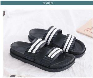 Mode Luxus Designer Damenschuhe Doppel Streifen Slippers Female starke untere Nicht - Beleg PVC Plastic Beach Hausschuhe schwarz Größe 36-41