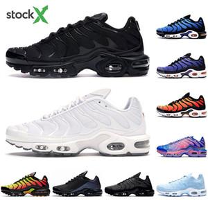 Con calcetines TN, más los hombres los zapatos para correr el triple negro blanco azul Tensión psíquica púrpura pimiento morrón amarillo brillante para hombre entrenadores deportivos zapatilla de deporte