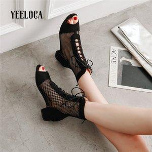 YEELOCA 2019 estate stivali stivali caviglia donne maglia della punta appuntita della punta aperta sexy nero tallone quadrato signore della cinghia tallone basso caviglia